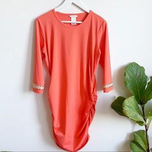 Michael Michael Kors Orange Ruched Mini Dress M